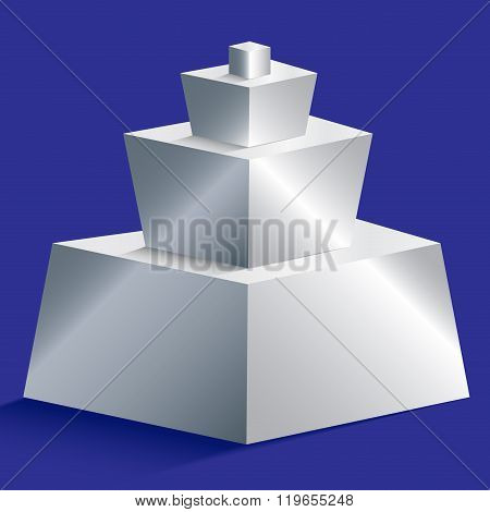 Isolated Silver Gradient Pyramid On Blue Background