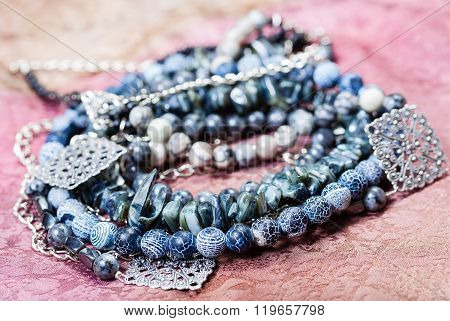 Tangled Gray Blue Agate Necklace From Gemstones