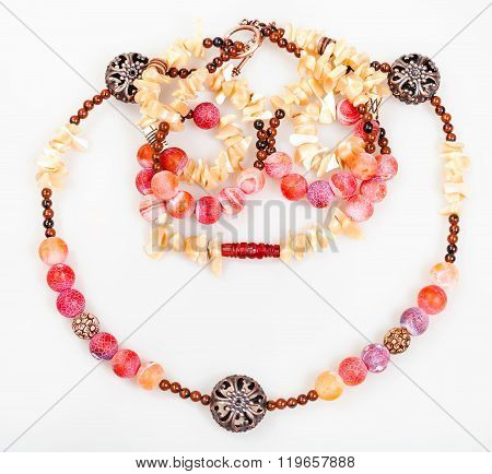 Pink And Yellow Necklace From Natural Gemstones