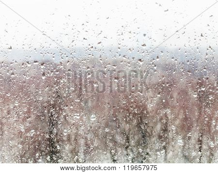 Water Drops From Melting Snow On Home Windowpane