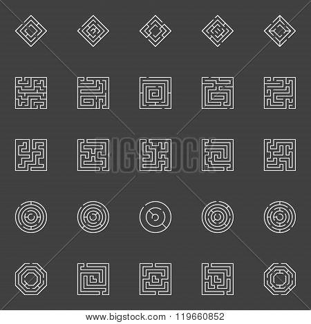 Maze line icons