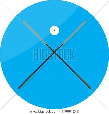 Icon Billiard Cue Crossed And White Ball