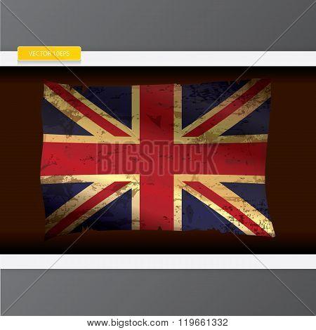 The United Kingdom or Union Jack grunge flag.