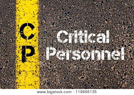Concept image of Business Acronym CP critical personnel written over road marking yellow paint line poster