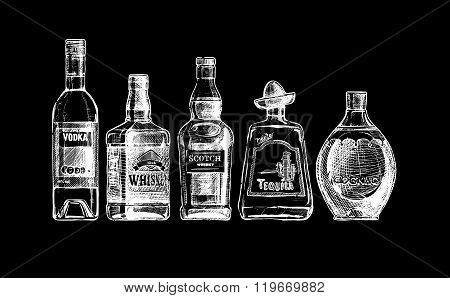 Vector set of bottles of alcohol in ink hand drawn style. isolated on black. Distilled beverage poster