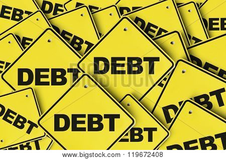 Debt yellow multiple sign