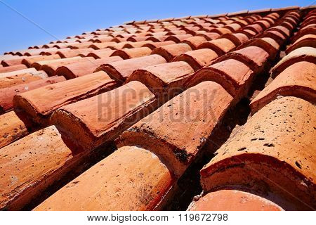 Arabic roof tiles pattern texture in Teruel of Spain