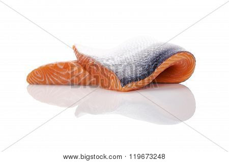 Fresh Salmon Steak Isolated.
