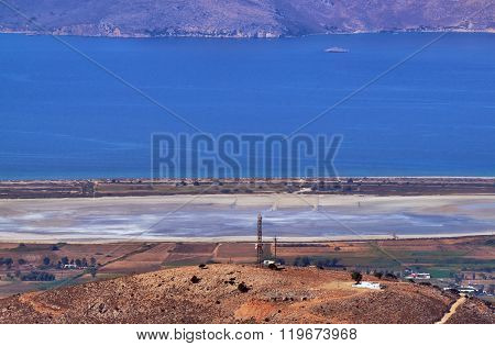 Salt lake Alikes on the shores of the Mediterranean Sea