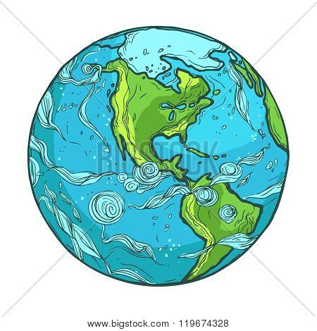 Hand drawn illustration of Planet Earth on a white background