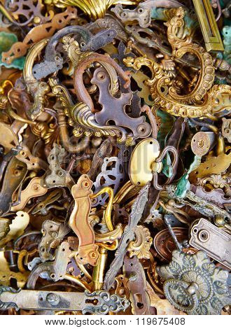 brass fittings and handles retro vintage in antiques marquet