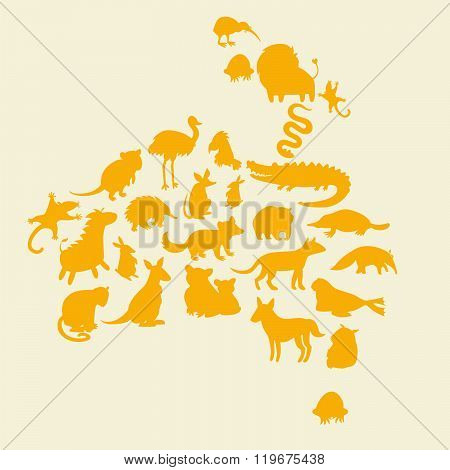 Australian animals silhouettes set. Vector illustration