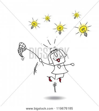 businesswoman catches ideas. A businesswoman runs after light bulbs. It's a metaphor of somebody who want find brilliant ideas