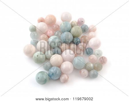 Beryl Crystal Mineral Gem Beads Sample On White Background