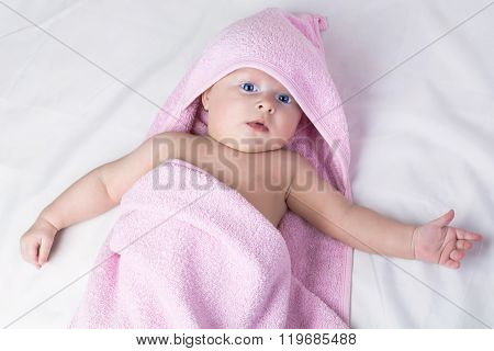 Sweet Small Baby Covered With A Towel