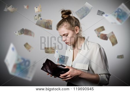 Woman And Wallet. Euro.