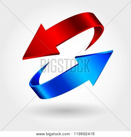 Red and blue arrows are moving towards. Arrows sign