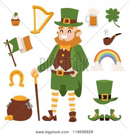 St. Patrick's Day vector icons. St. Patricks Day vector cartoon style symbols. St. Patrick's Day irish man, leaf and hat isolated on white background