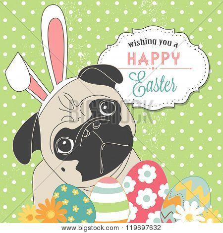 Easter Pug! Cute little dog with bunny ears