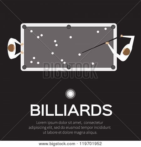 Billiards pool snooker game. Balls triangle cue on table. Man playing professional billiards pool snooker - Vector illustration.