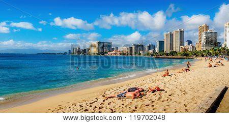 Waikiki Beach at midday