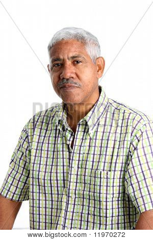 Senior Minority Man Set On A White Background