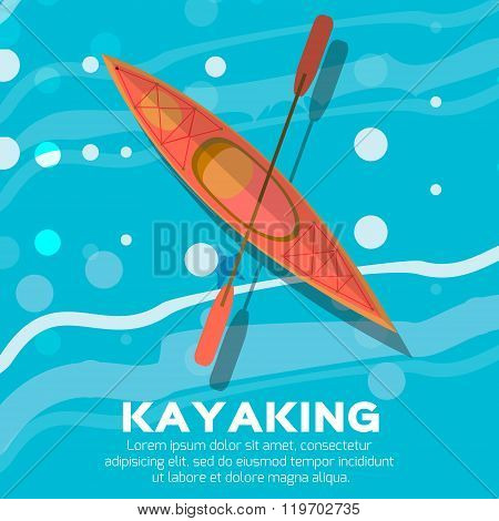 Orange Kayak and paddle. Vector illustration of Outdoor activities elements - kayak and rowing oar. Kayak isolated sea kayak