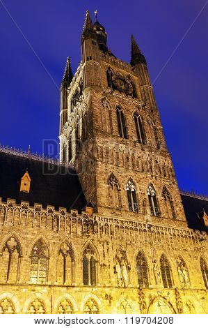 Cloth Hall and Belfry in Ypres. Ypres West Flanders Flemish Region Belgium