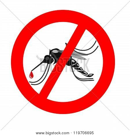Signaling Mosquitoes With Mosquito Warning Prohibited Sign For Informational And Institutional Sanit