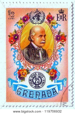 Grenada - Circa 1973: Postal Stamp Printed In Grenada Shows Ignatius Semmelweis, Series 25Th Anniv O