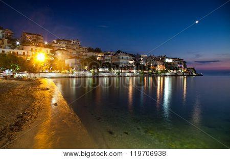Village of Skala Marion by night, Thassos island, Greece