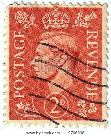 United Kingdom - Circa 1950 To 1952: An English Two Pence Brown Used Postage Stamp Showing Portrait