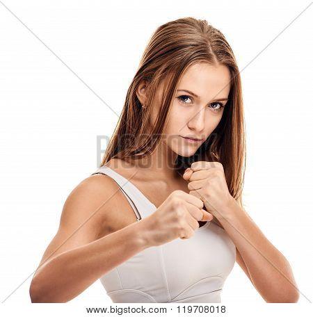 Boxing girl portrait close