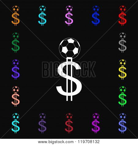 Betting On Football, Money Collector, Bookmaker Icon Sign. Lots Of Colorful Symbols For Your