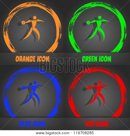 Discus Thrower Icon. Fashionable Modern Style. In The Orange, Green, Blue, Red Design.