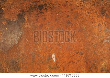 Red Rust On The Old And Weathered Metal Door