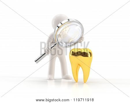 He is looking for a gold tooth