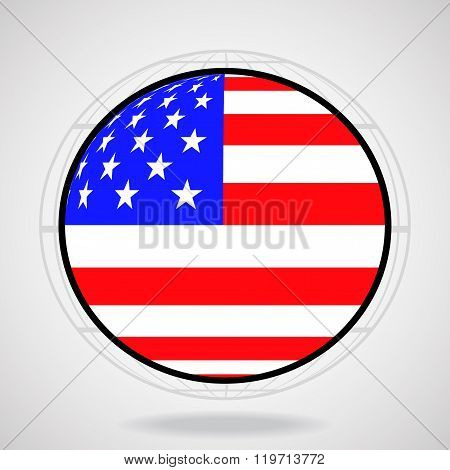 Flag of the United States in form globe