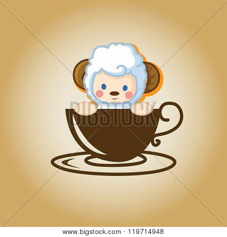 Animal coffee cartoon cute logo cup drink vector