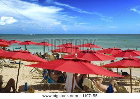 Red Resort Umbrellas