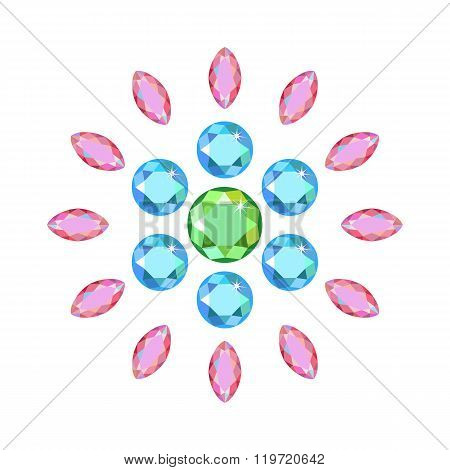 Scattered Around Gems Isolated On White Background