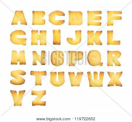 A-Z cookie alphabet on white background.