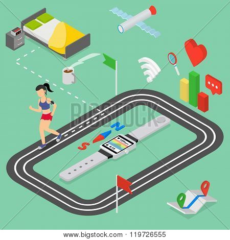Flat 3d isometric style smart fitness watch web infographics concept. morning running. Girl runs fro