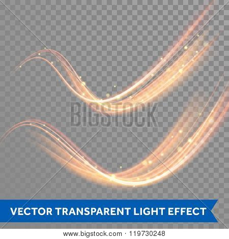 Vector magic glowing spark swirl trail effect on transparent background. Boken glitter wave line with flying sparkling flash lights.