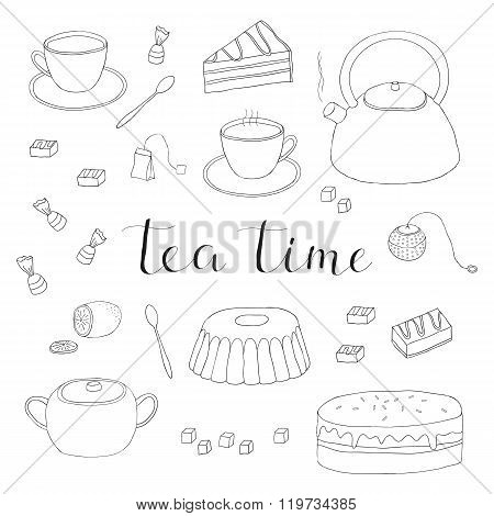 Hand drawn outline tea items.