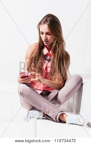 Girl uses new features of her phone