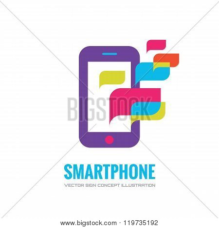 Smatphone vector logo concept illustration. Mobile phone vector logo creative illustration.
