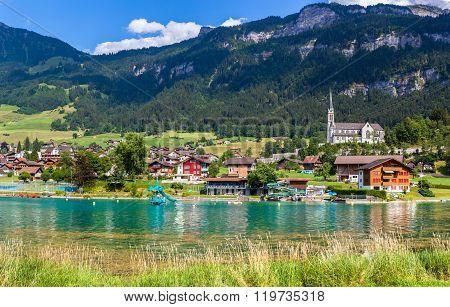 Small Town Lungern In Switzerland