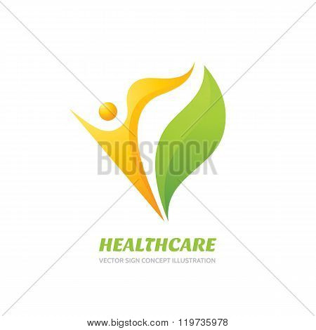 Healthcare vector logo concept illustration. Health logo sign. Healthy logo. Human character logo.