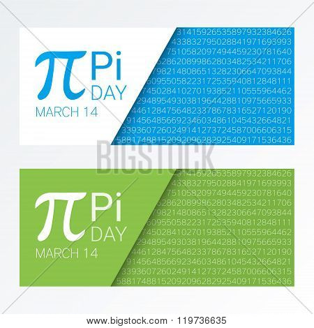 Set Of Colorful Horizontal Banners For Pi Day. Pi Number, Pi Sign,  Mathematical Constant, Irrationa